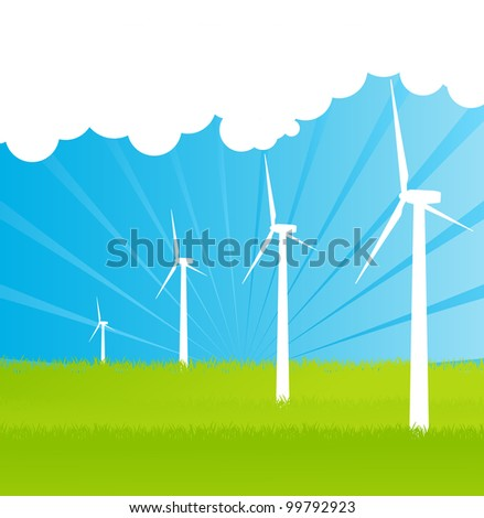 Wind electricity generators and windmills detailed editable ecology silhouettes illustration landscape background vector