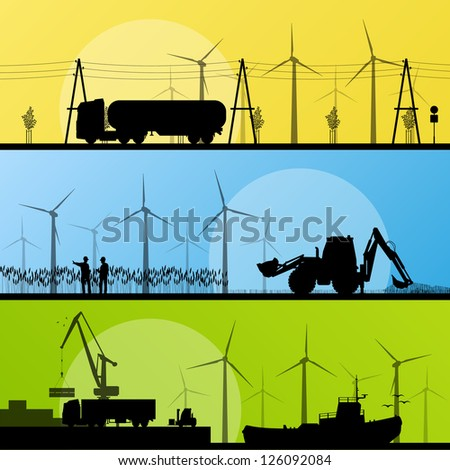 Wind electricity generators and windmills in countryside village and in ocean sea harbor landscape ecology illustration background vector - stock vector