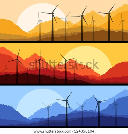 Wind electricity generators and windmills in mountain desert nature landscape ecology illustration background vector - stock vector