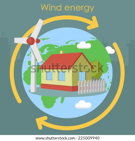 wind energy house planet - stock vector
