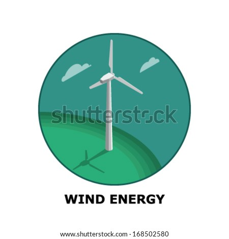 Wind Energy, Renewable Energy Sources - Part 1  (both circle and square version is available in the vector file) - stock vector