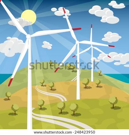 Wind Energy - Wind Turbines with Blue sky sunny landscape - stock vector