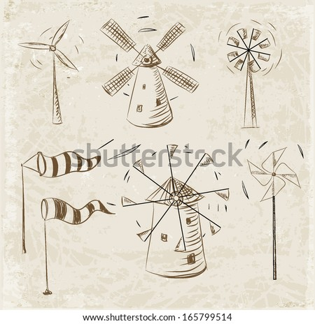 Wind facilities set. Hand drawn sketch illustration on vintage background. Vector illustration. - stock vector
