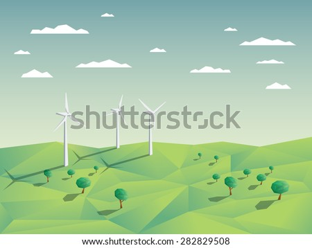 Wind farm in green fields among trees. Ecology environmental background for presentations, websites, infographics. Modern 3D low polygonal design. Eps10 vector illustration.