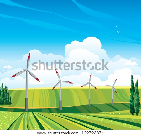 Wind generator and green meadow on a blue sky with clouds. Summer rural landscape. - stock vector