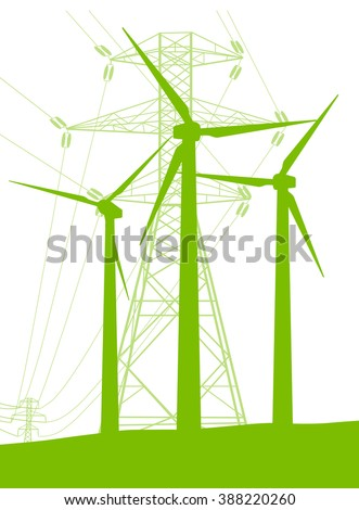 Wind generator and high voltage towers vector background ecology green concept - stock vector