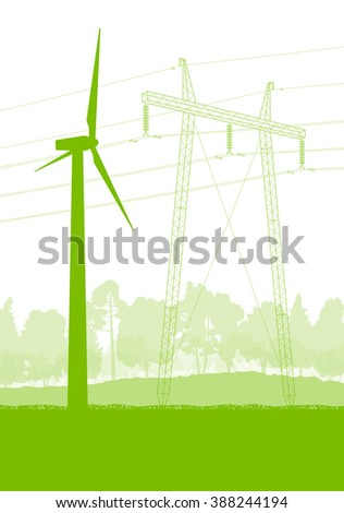 Wind generator and power line ecology alternative energy vector background concept - stock vector