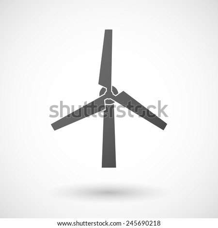 wind generator   icon with shadow on white background - stock vector