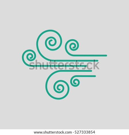 Wind icon. Gray background with green. Vector illustration.