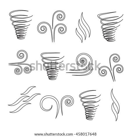 Wind icons nature, climate and motion - stock vector