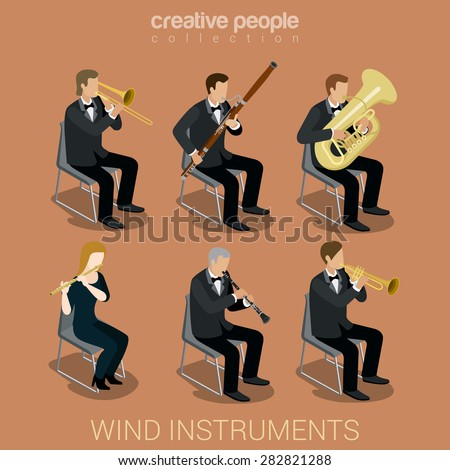 Wind instrument musicians flat 3d web isometric infographic concept vector. Creative people playing classic instruments scene theater opera concert. Trombone fife flute trumpet tube pipe clarinet. - stock vector