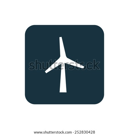 wind mill icon Rounded squares button, on white background  - stock vector