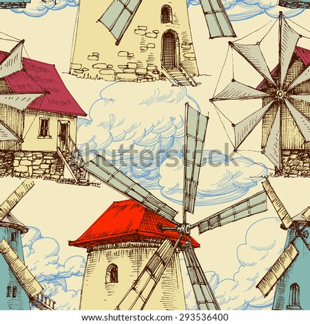 Wind mill pattern, sky and clouds background - stock vector