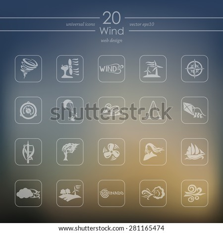 wind modern icons for mobile interface on blurred background - stock vector