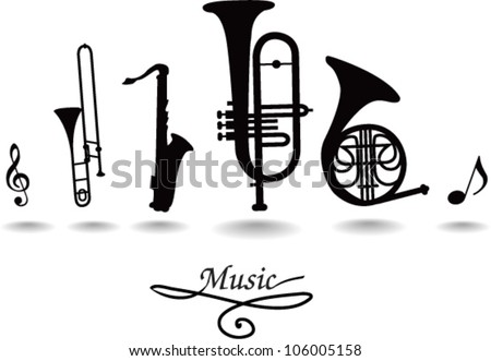 wind musical instruments - stock vector