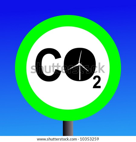 Wind power a low CO2 emissions energy source - stock vector
