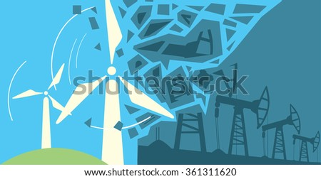 Wind Power clean Energy, renewable energy innovation power wind turbine concept vector illustration