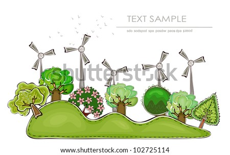 "wind power generator and factory ""Happy world"" collection - stock vector"