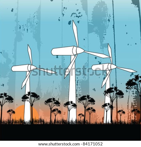 Wind Power in nature - stock vector