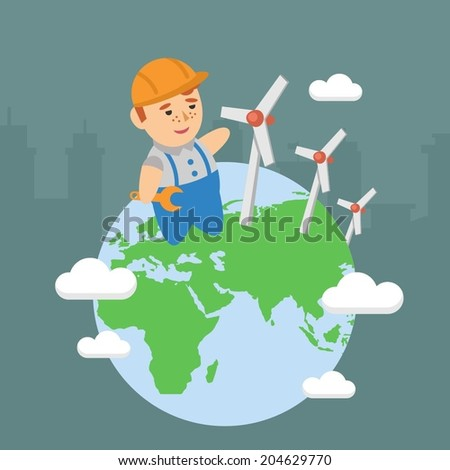 wind power plant energy ecology repairman builder - stock vector