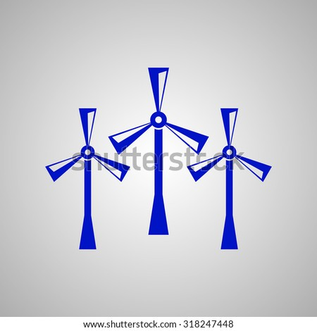 Wind power vector icon. Flat design style - stock vector