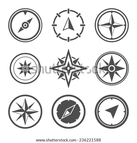 Wind rose compass flat vector symbols set - stock vector