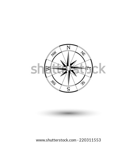 wind rose compass icon - black vector illustration