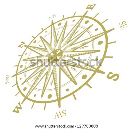 Wind rose compass isolated on white - stock vector