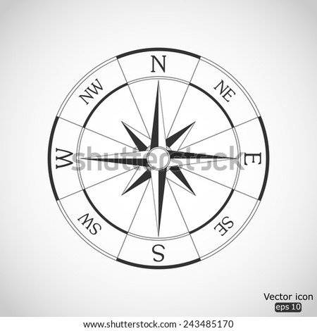 wind rose compass vector icon - stock vector