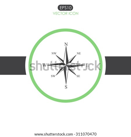 Wind rose compass vector icon. - stock vector