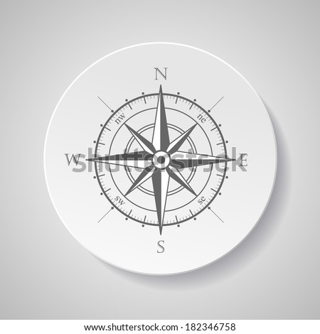 Wind rose compass vector symbol with shadow - stock vector