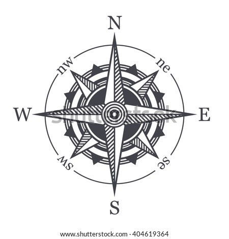 Wind Rose or Compass Icon on White Background. Vector - stock vector