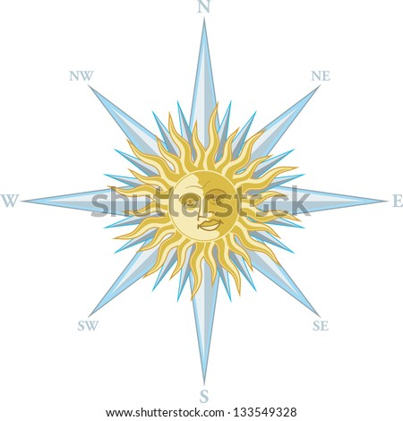 Wind rose with the image a smiling sun face - stock vector