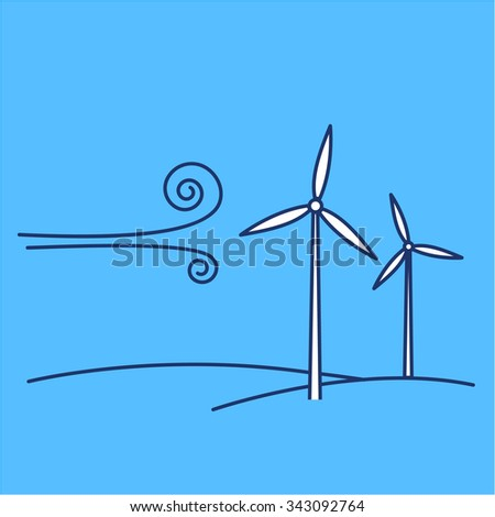 Wind turbine ecology and environment vector icon and infographic blue and white on blue background