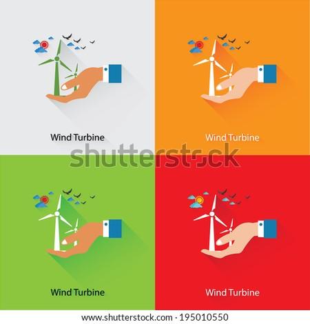 Wind turbine,Ecology Concept,vector - stock vector