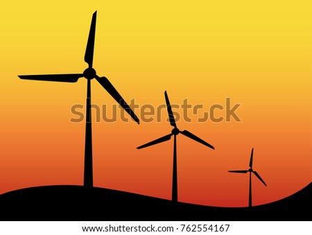 Wind turbine icons on hilltop against a colorful orange sunset sky in a concept of renewable sustainable electricity from conversion of kinetic energy, vector illustration