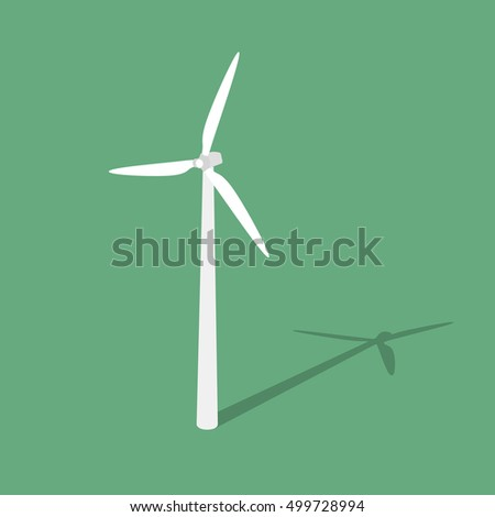 Wind turbine. Isolated on green background. Vector illustration.