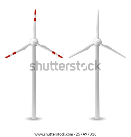 wind turbine isolated on white background in vector format - stock vector