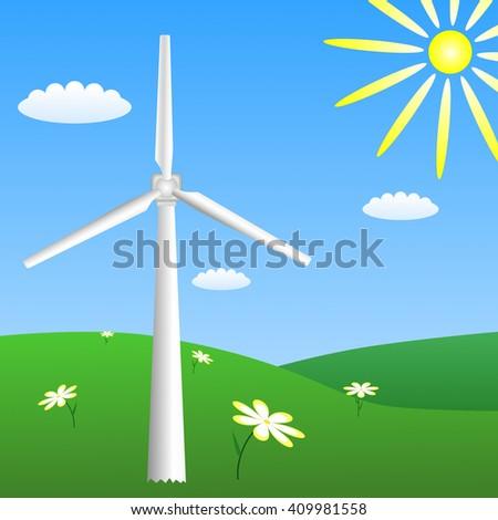 Wind turbine on sunny meadow. Vector EPS10 - stock vector