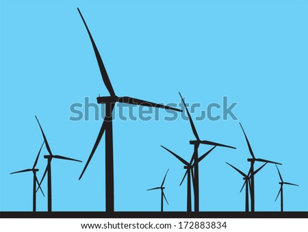 Wind turbine Park illustration. Renewable energy and sustainable environment concept. - stock vector
