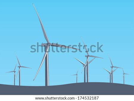 Wind turbine Park illustration. Renewable energy and sustainable environment concept.