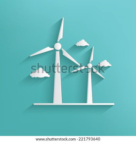 Wind turbine symbol on blue background,clean vector - stock vector