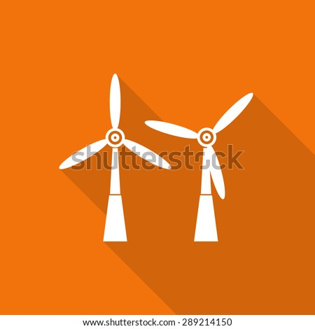 wind turbine tower energy recycle technology flat icon with long shadow. - stock vector