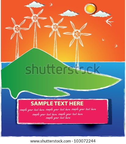 Wind turbine,Vector - stock vector
