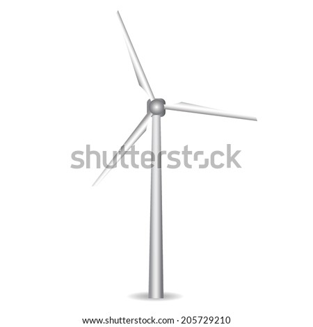 Wind turbine vector. Windmill, wind generator realistic