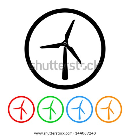 Wind Turbine Wind Power Icon Vector with Four Color Variations - stock vector