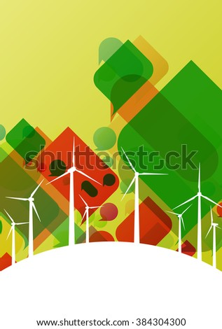 Wind turbine windmill silhouette electricity industrial concept with abstract discussion speech bubbles background landscape illustration vector