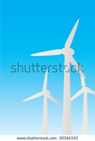 Wind turbines - stock vector