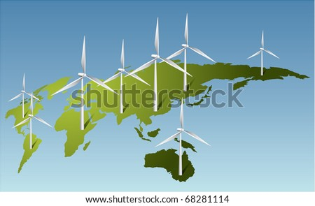 Wind turbines generating electricity on Earth