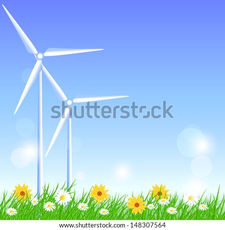 Wind turbines in the field - stock vector